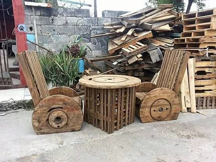 Pallet and Cable Reel Chairs and Table