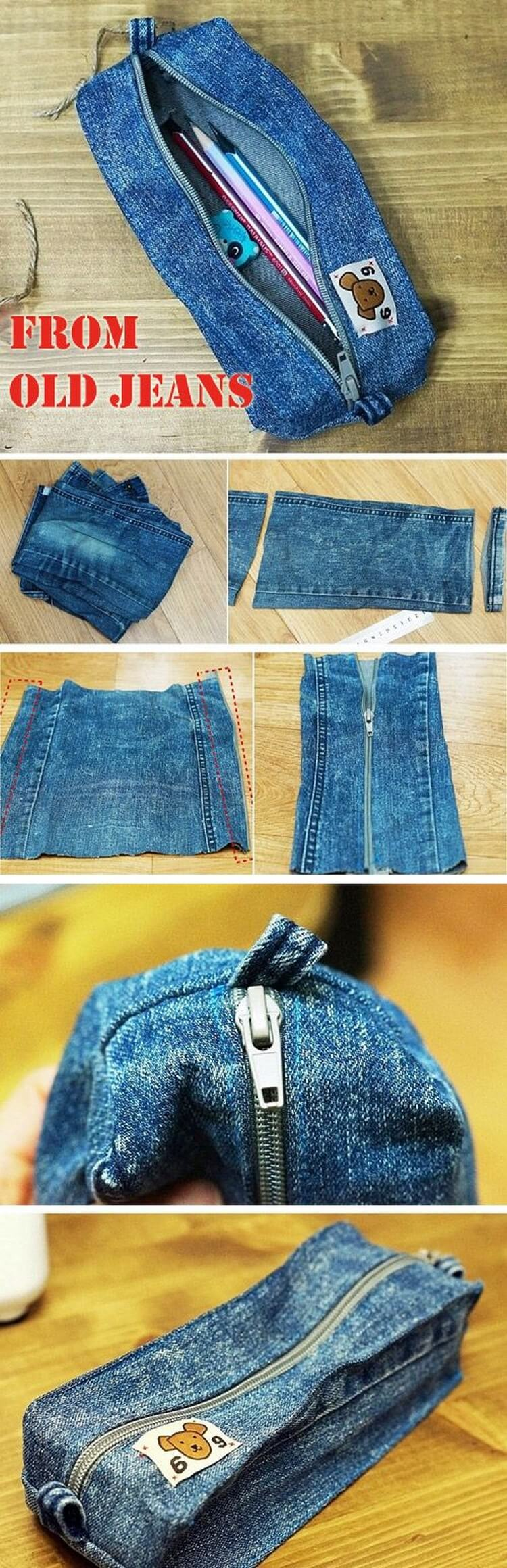 Recycled Jeans into Pencil Box