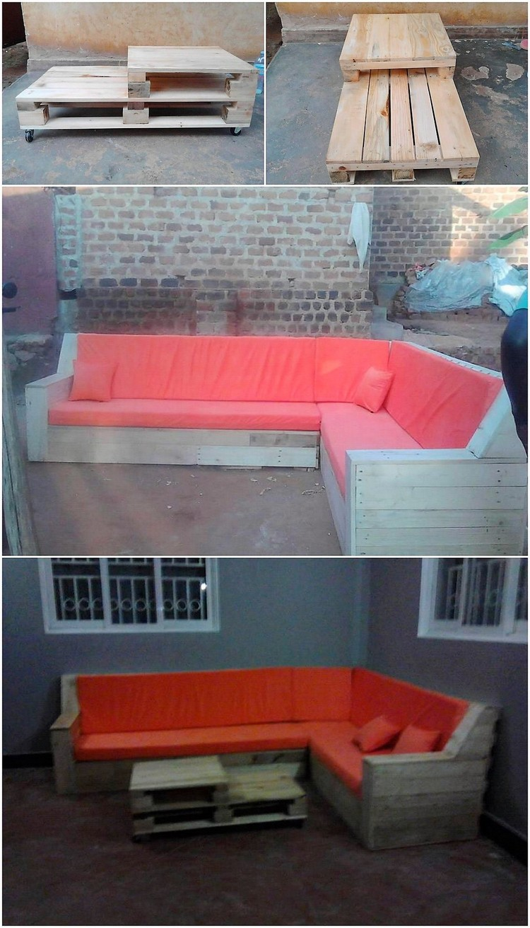 Recycled Pallet Couch and Table