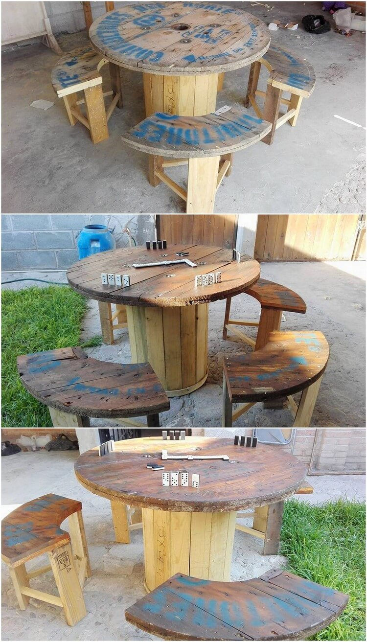 Unique Pallet Round Table and Benches