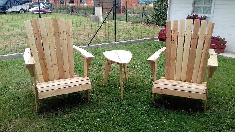 Pallet Adirondack Chairs and Center Table