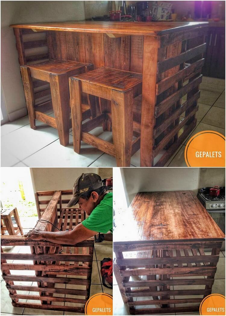 Pallet Kitchen Table and Stools