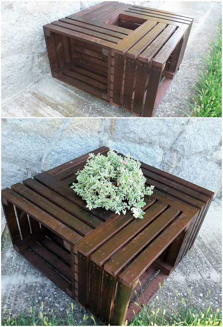Pallet Table with Center Planter