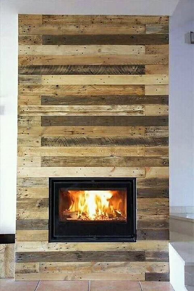Pallet Wall Paneling with Fire Place
