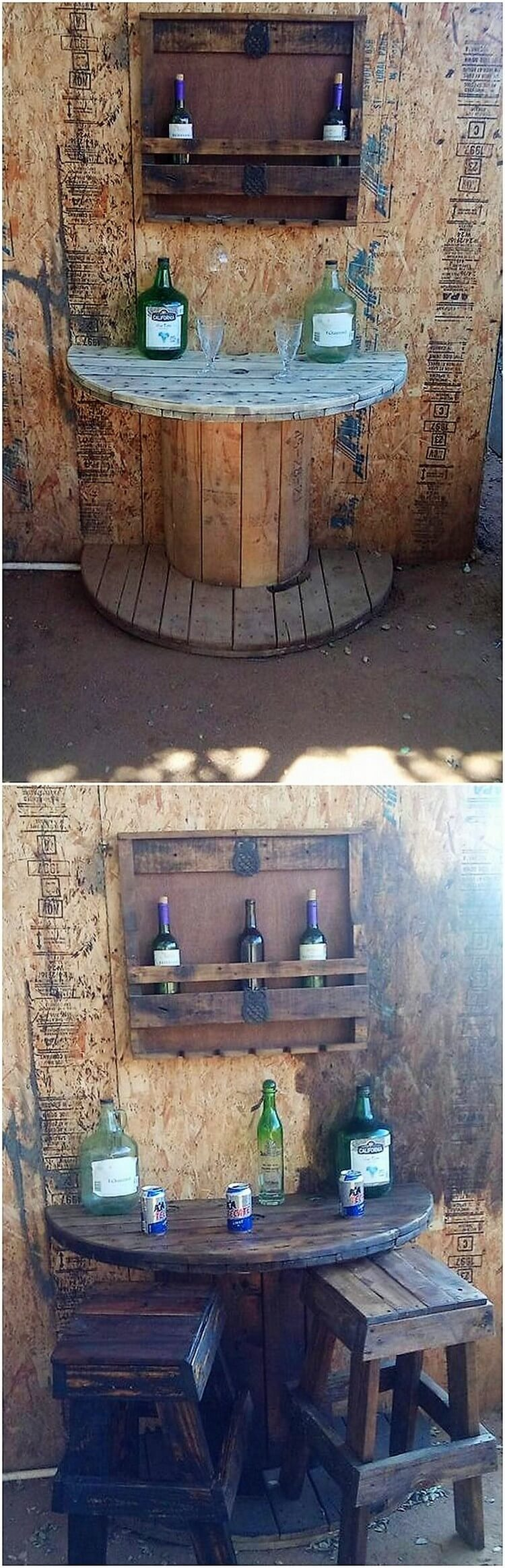 Pallet Wine Rack and Cable Reel Round Table with Benches