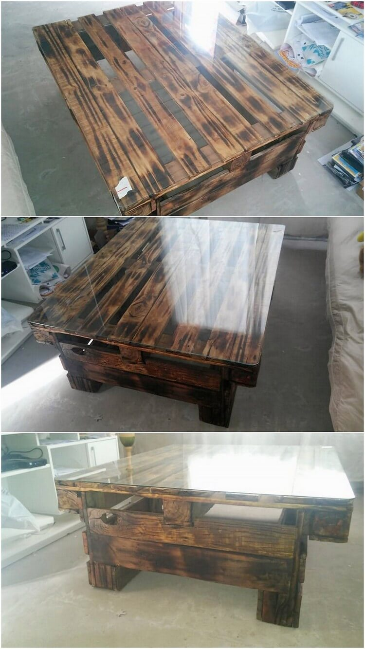 Recycled Pallet Table with Glass Top