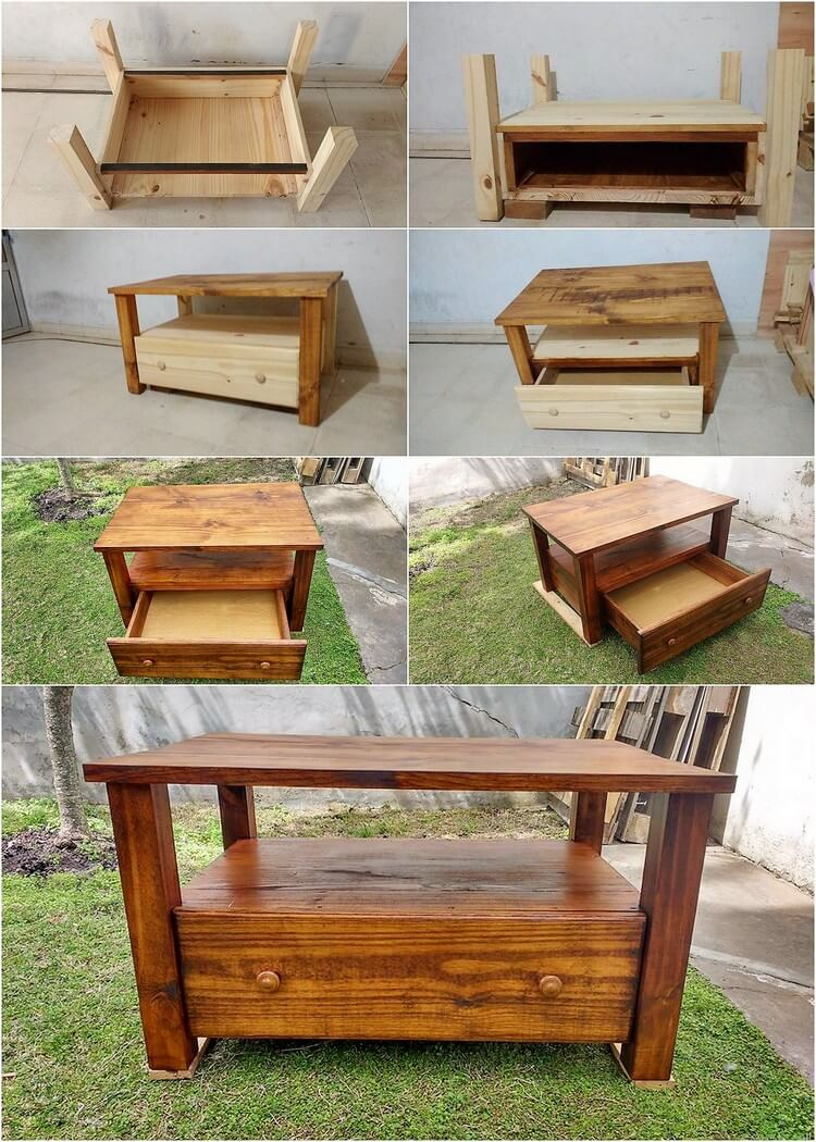 how to make pallet coffee table with drawer step by step