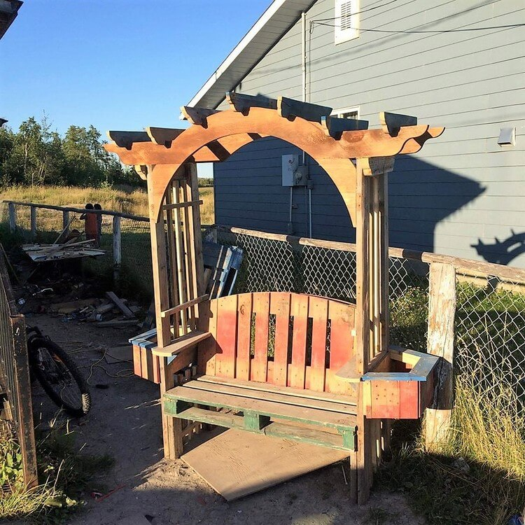 Pallet Bench with Pergola