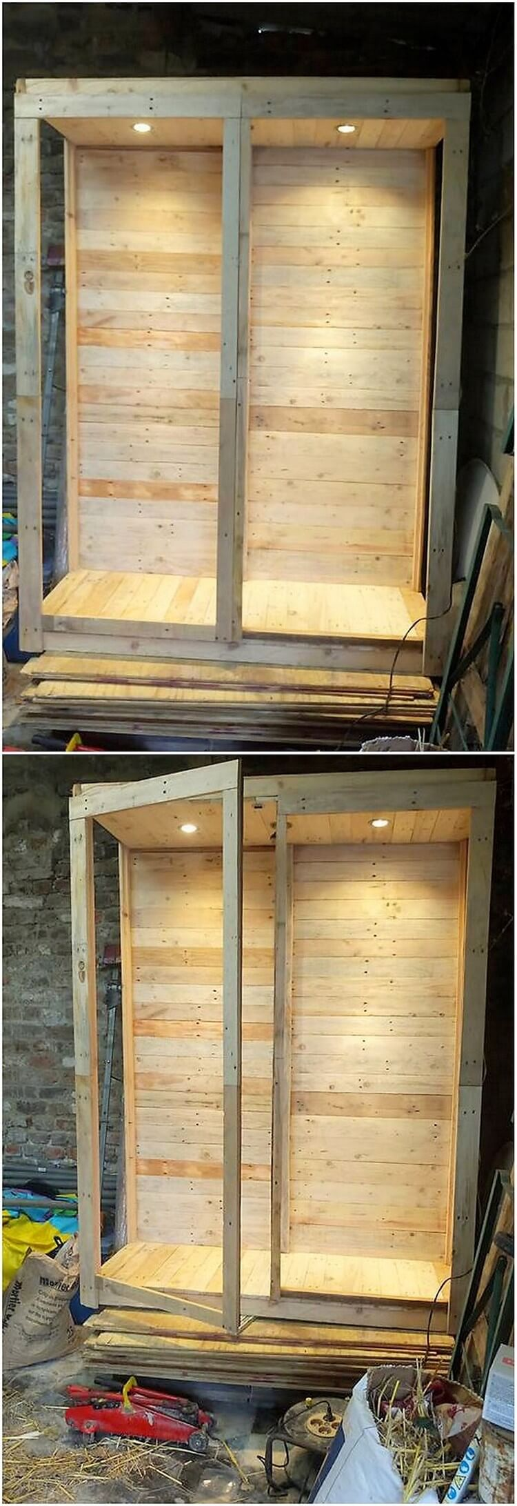 Pallet Closet with Lights (2)
