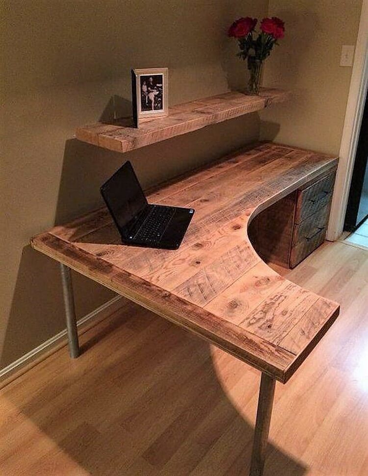 Pallet Office Table and Wall Shelf