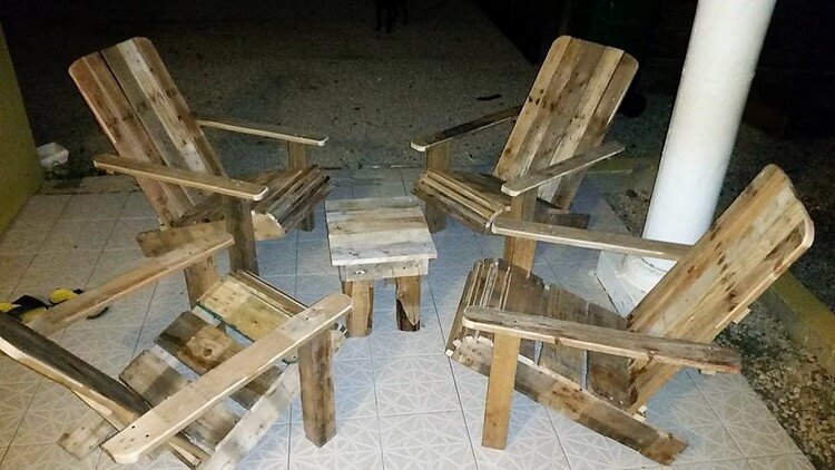 Recycled Pallet Adirondack Furniture Set