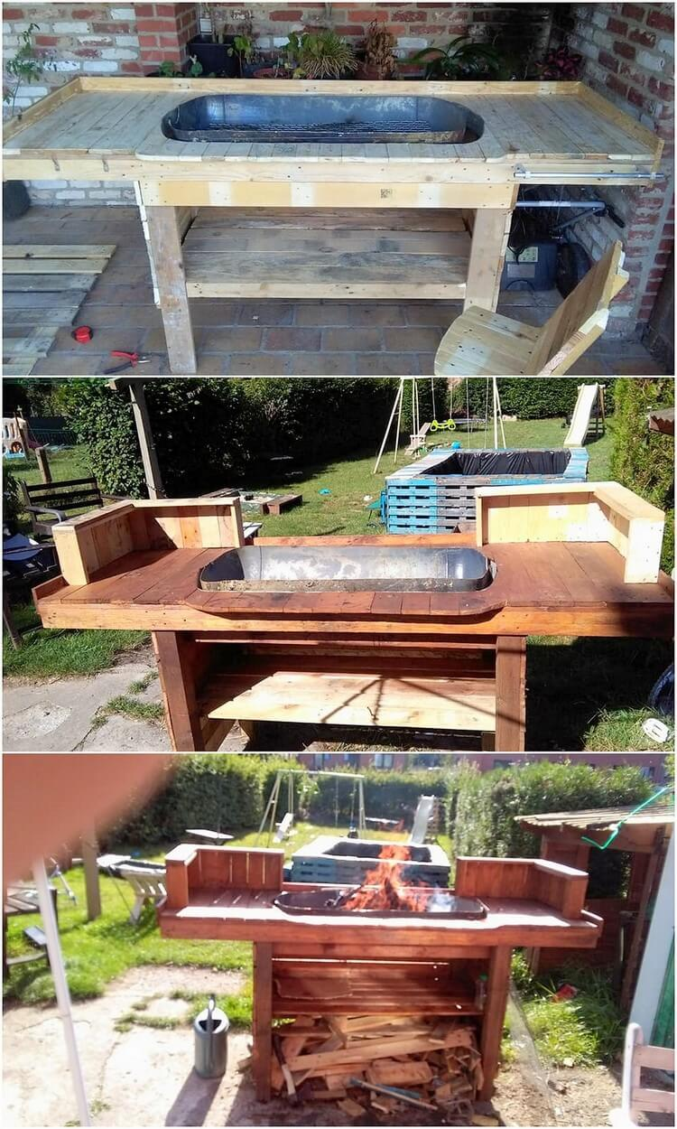Recycled Pallet BBQ Grill Table
