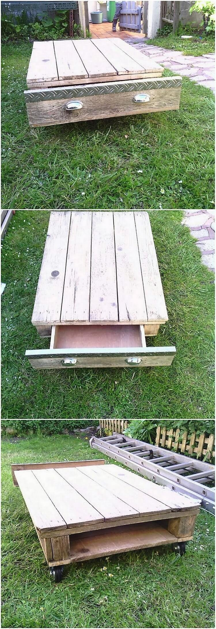 Recycled Pallet Table with Drawer