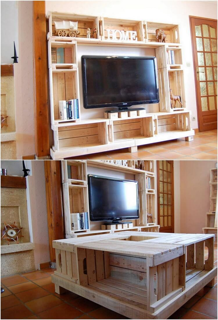 Pallet Cupboard with TV Stand