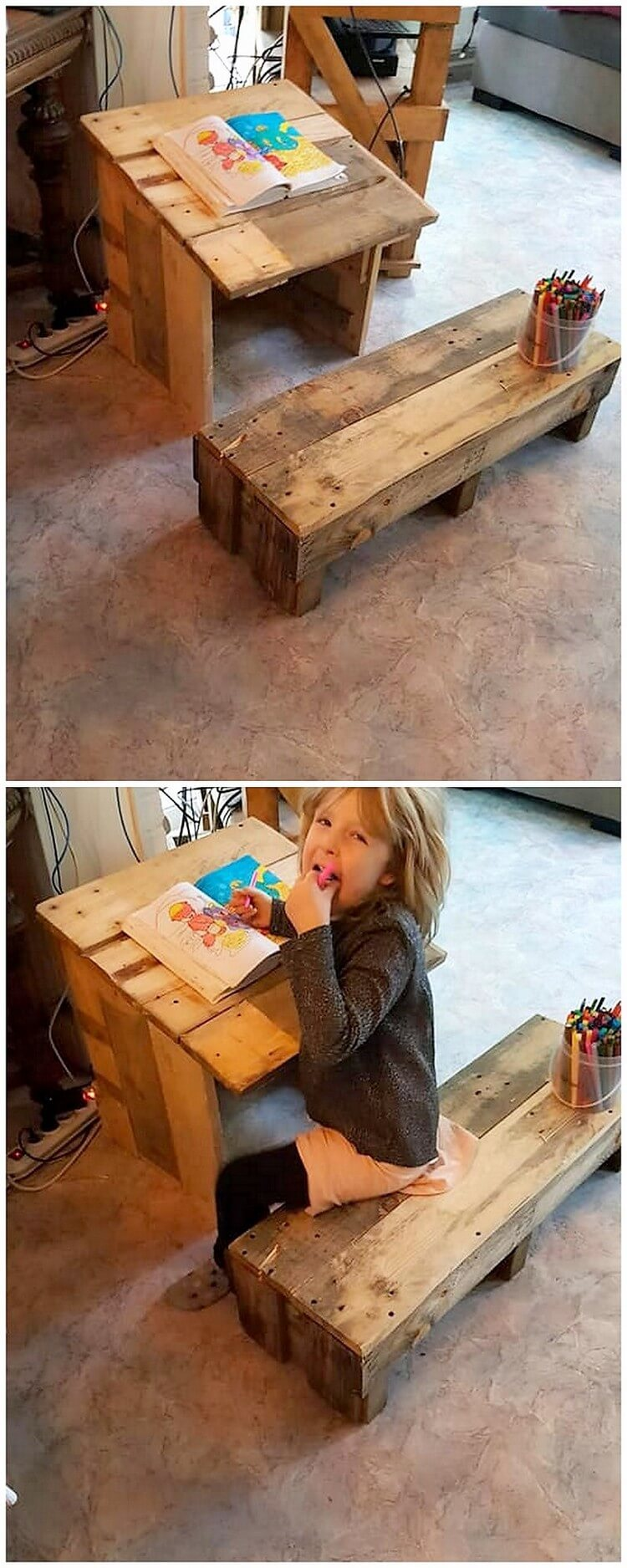 Pallet Kids Study Table and Bench