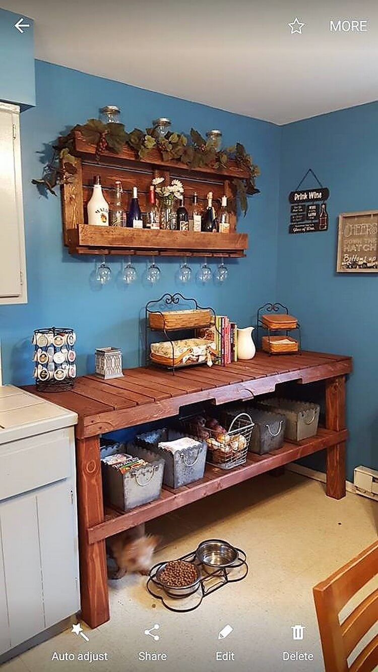 Pallet Kitchen Island Table and Wall Rack