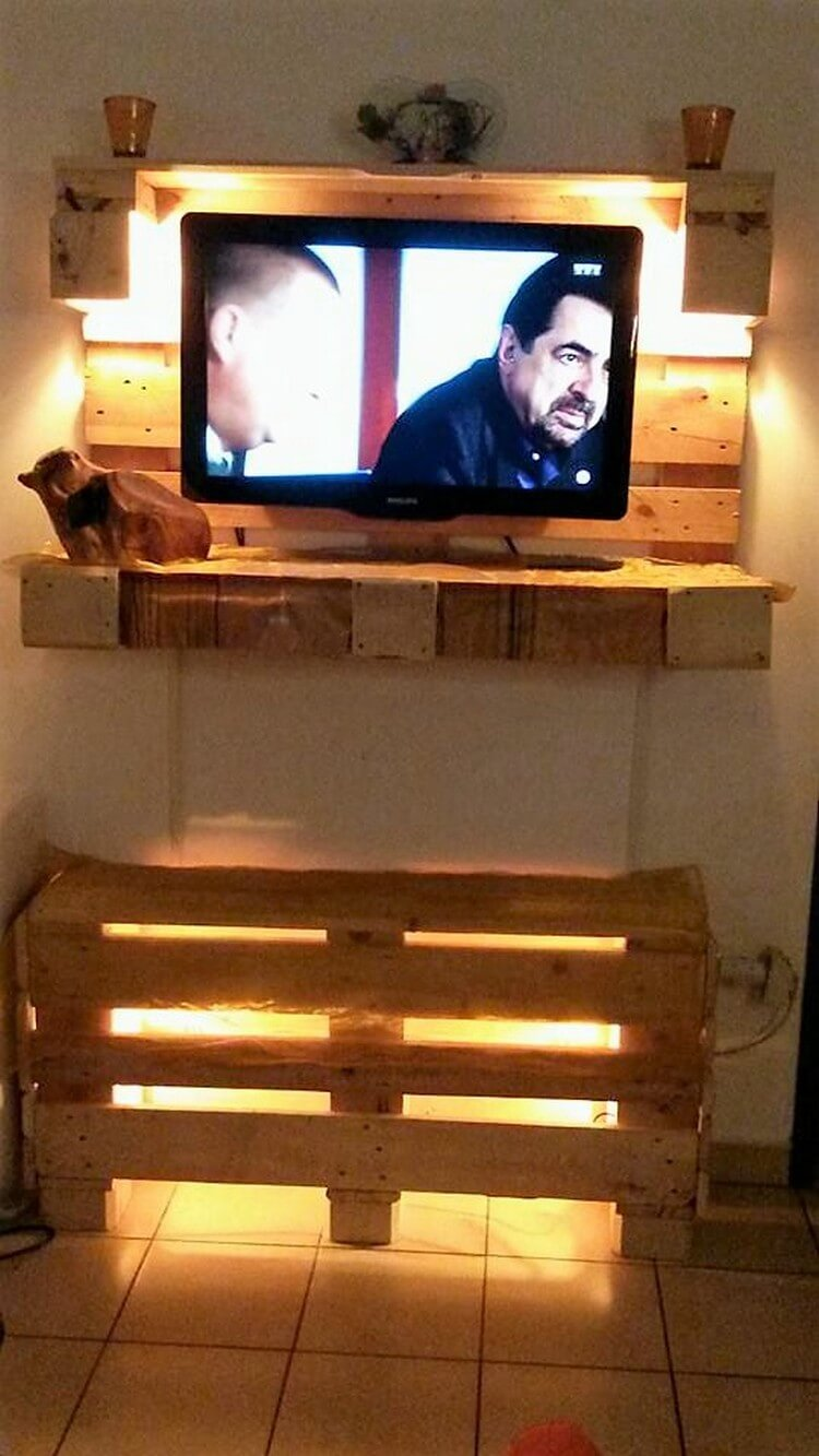 Pallet Wall LED Holder and Media Shelf