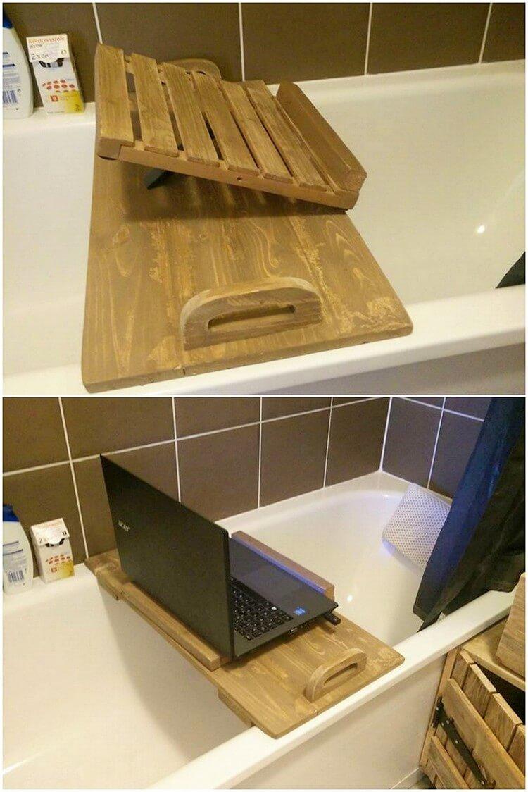 Pallet Laptop Holder for Washroom