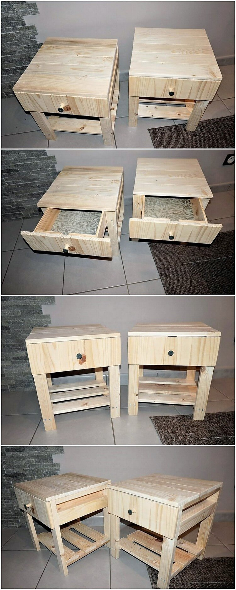 Pallet Side Tables with Drawer