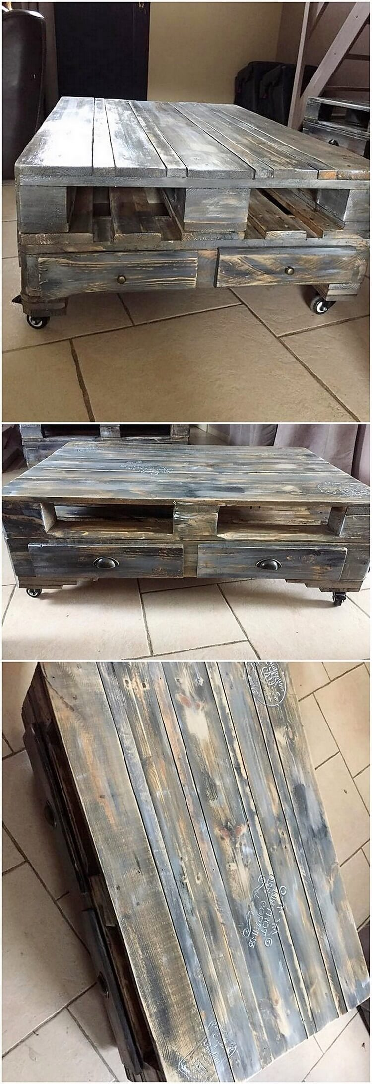 Recycled Pallet Coffee Table on Wheels