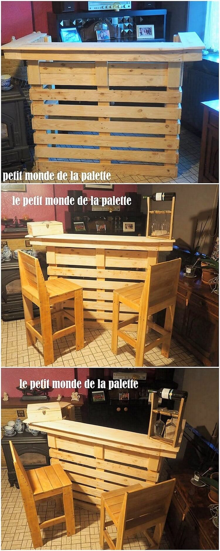 Pallet Bar Table and Chairs