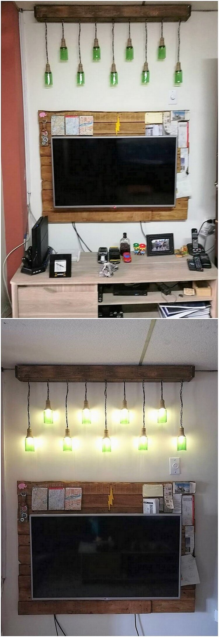 Pallet Chandelier and Wall LED Holder