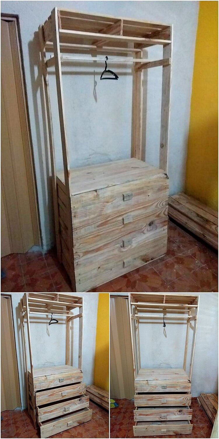 Pallet Closet with Drawers