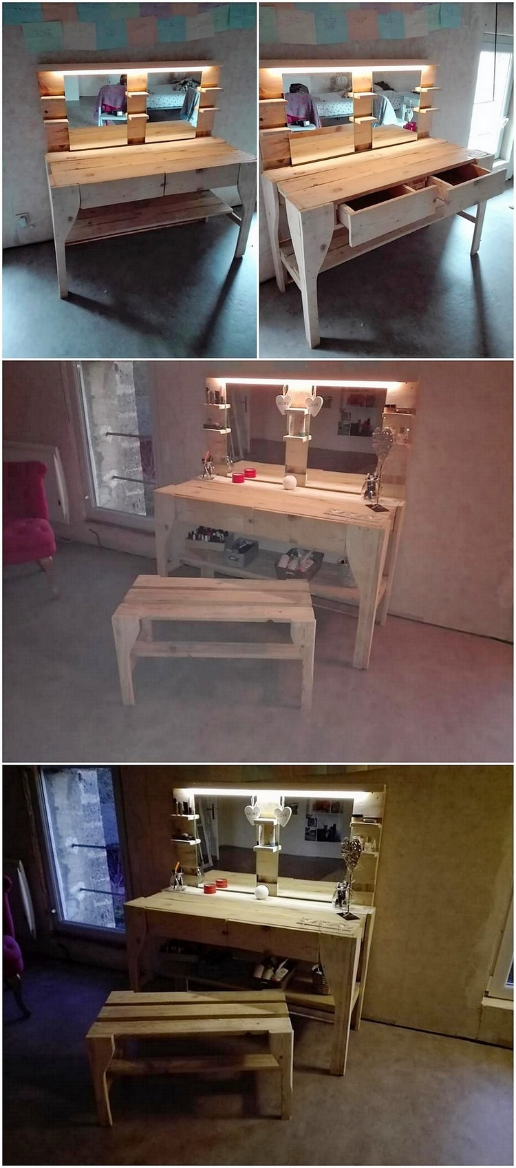 Pallet Dressing Table and Bench