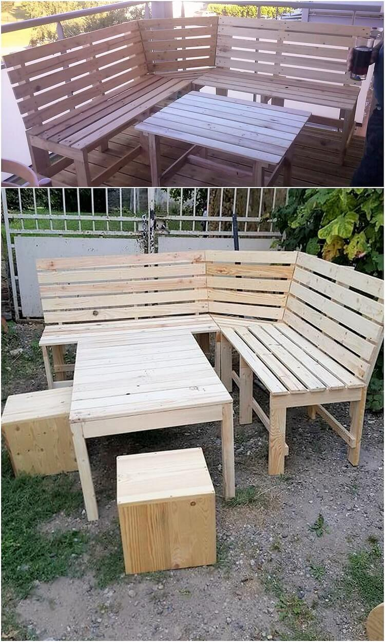 Pallet Garden Corner Couch and Table