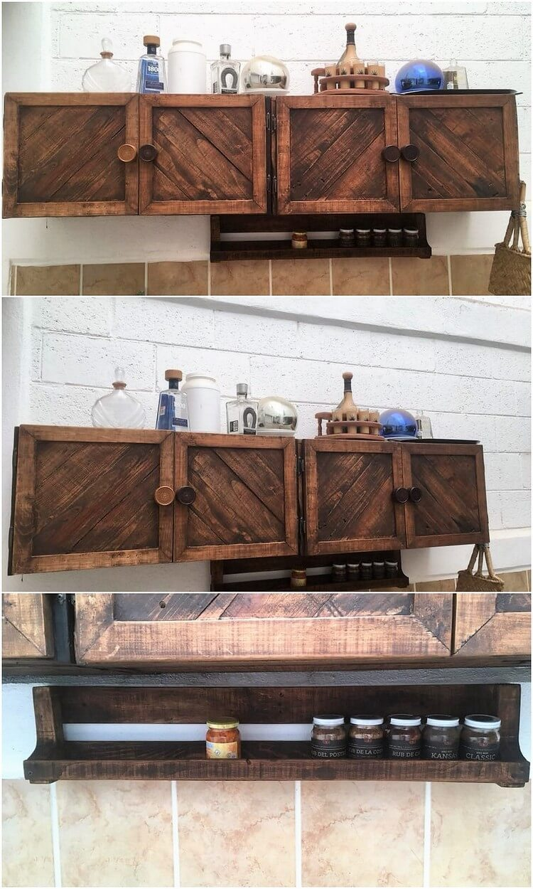 Pallet Kitchen Cabinets and Wall Shelf