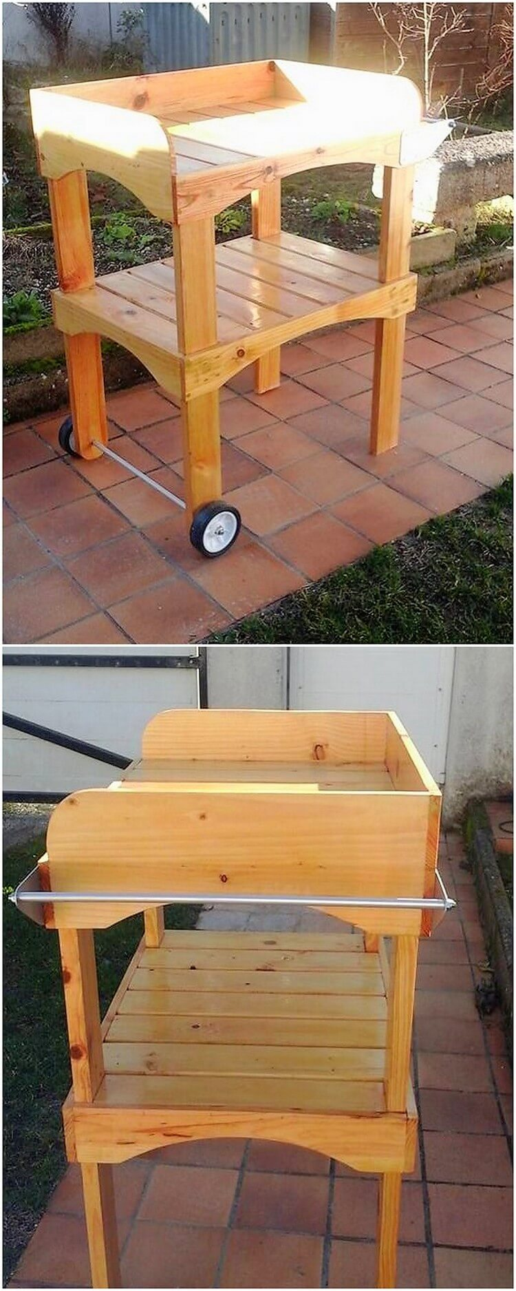 Pallet Outdoor Table on Wheels