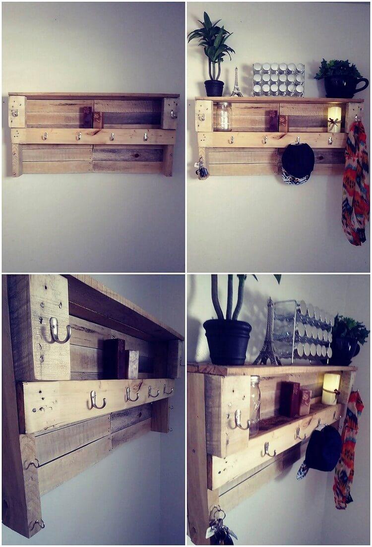 Pallet Wall Shelf with Coat Rack