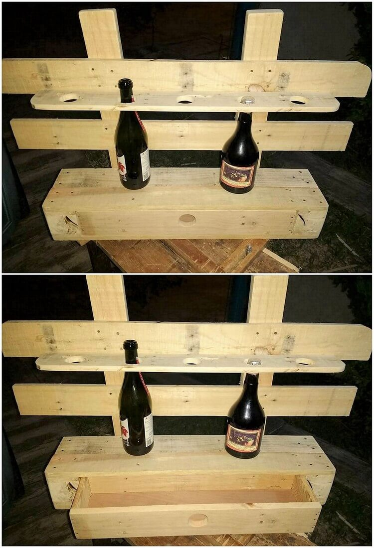 Pallet Wine Rack with Storage Drawer