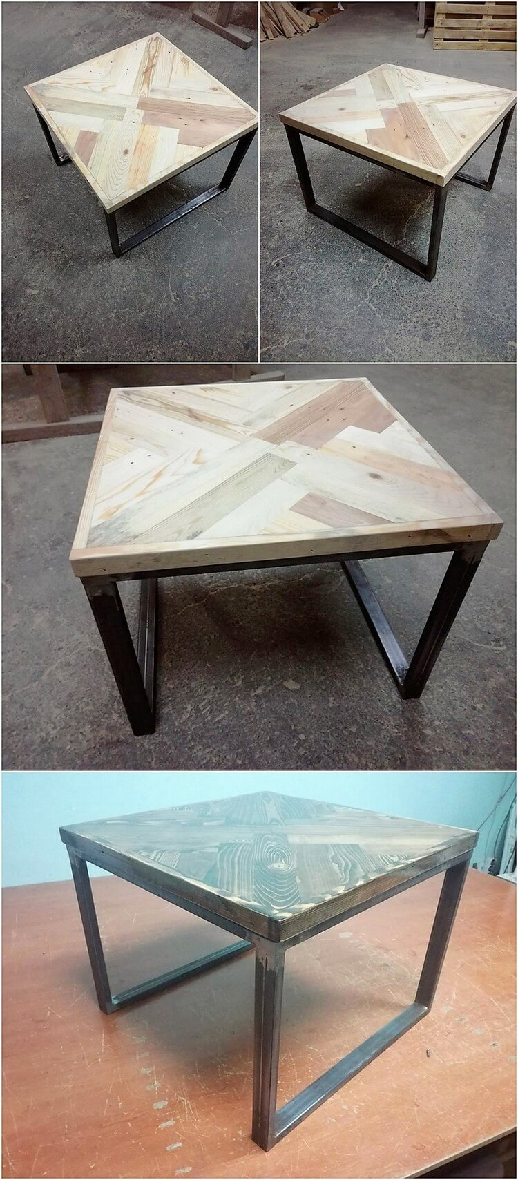 Recycled Pallet Table with Metal Legs