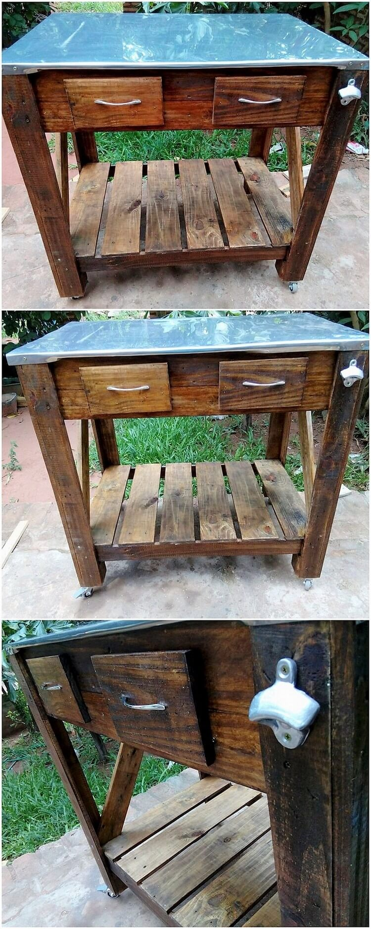 Pallet Glass Top Table with Drawers