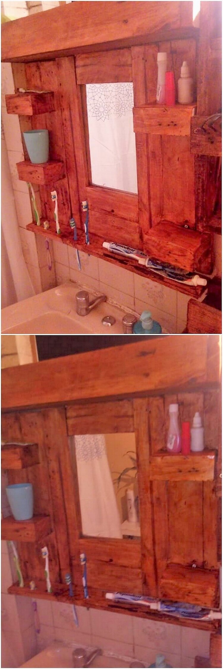 Pallet Mirror Frame with Bathroom Shelf