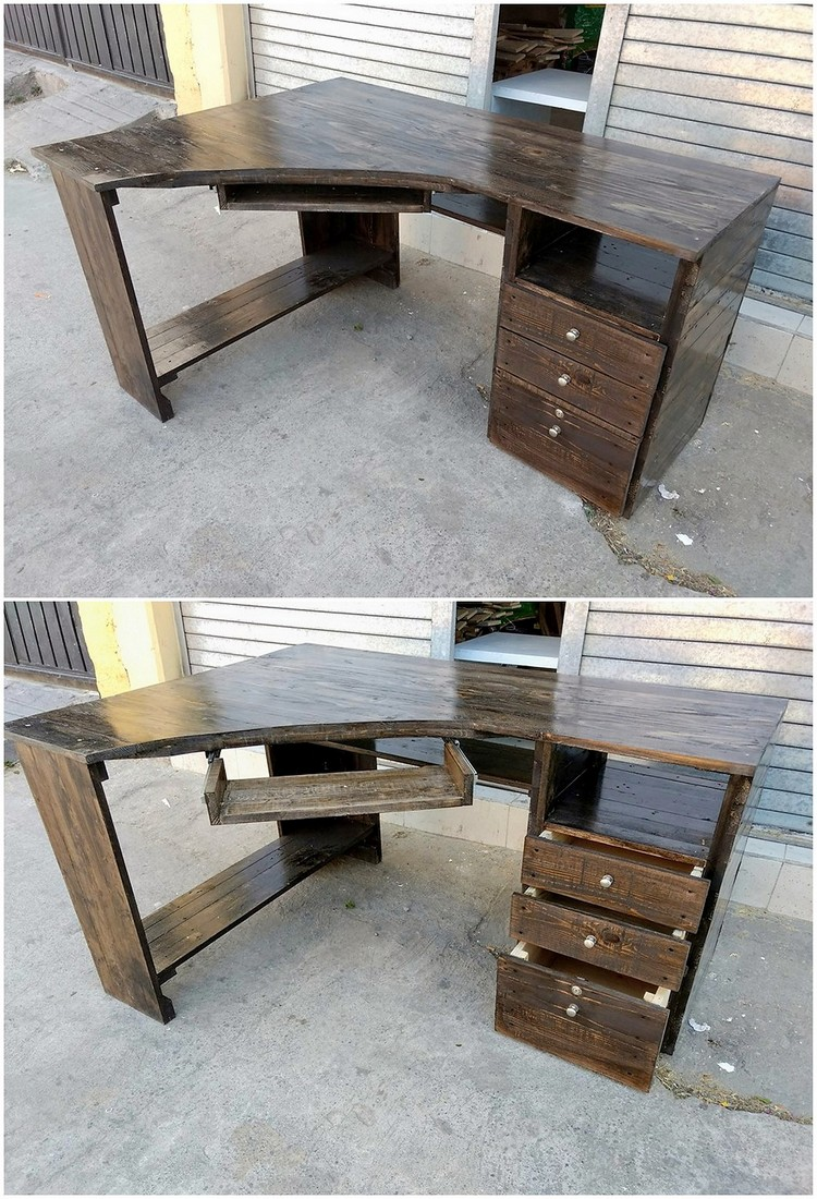 Pallet Office or Study Table with Drawers