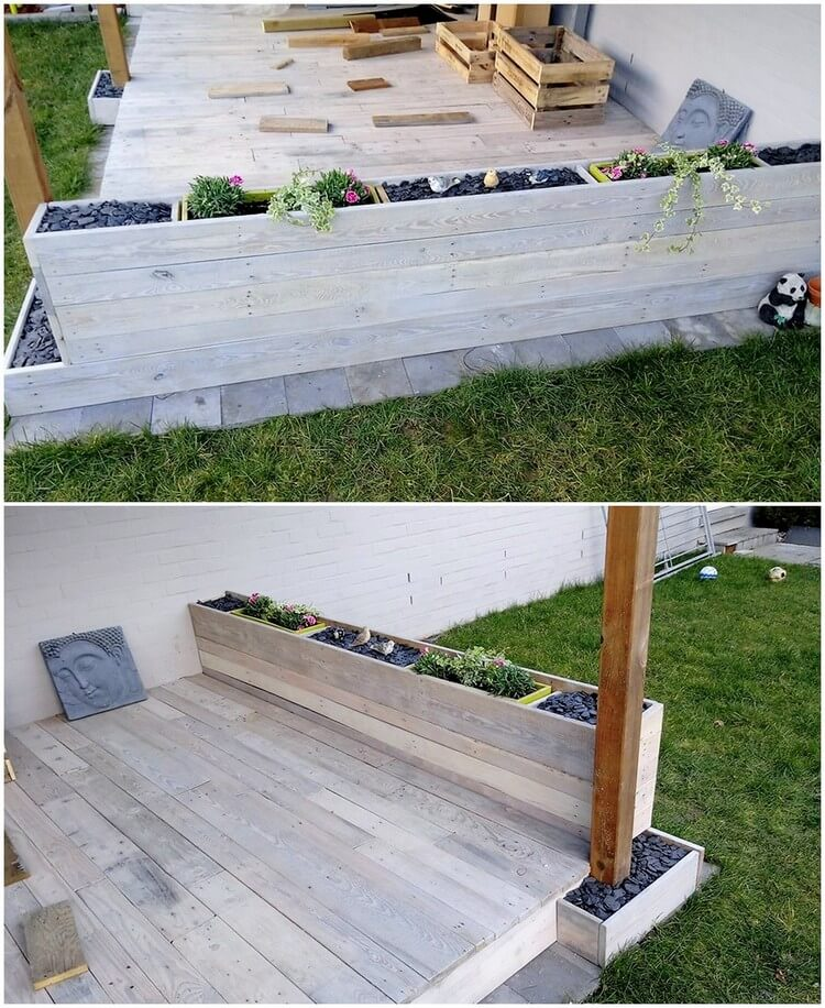 Pallet Terrace with Planter
