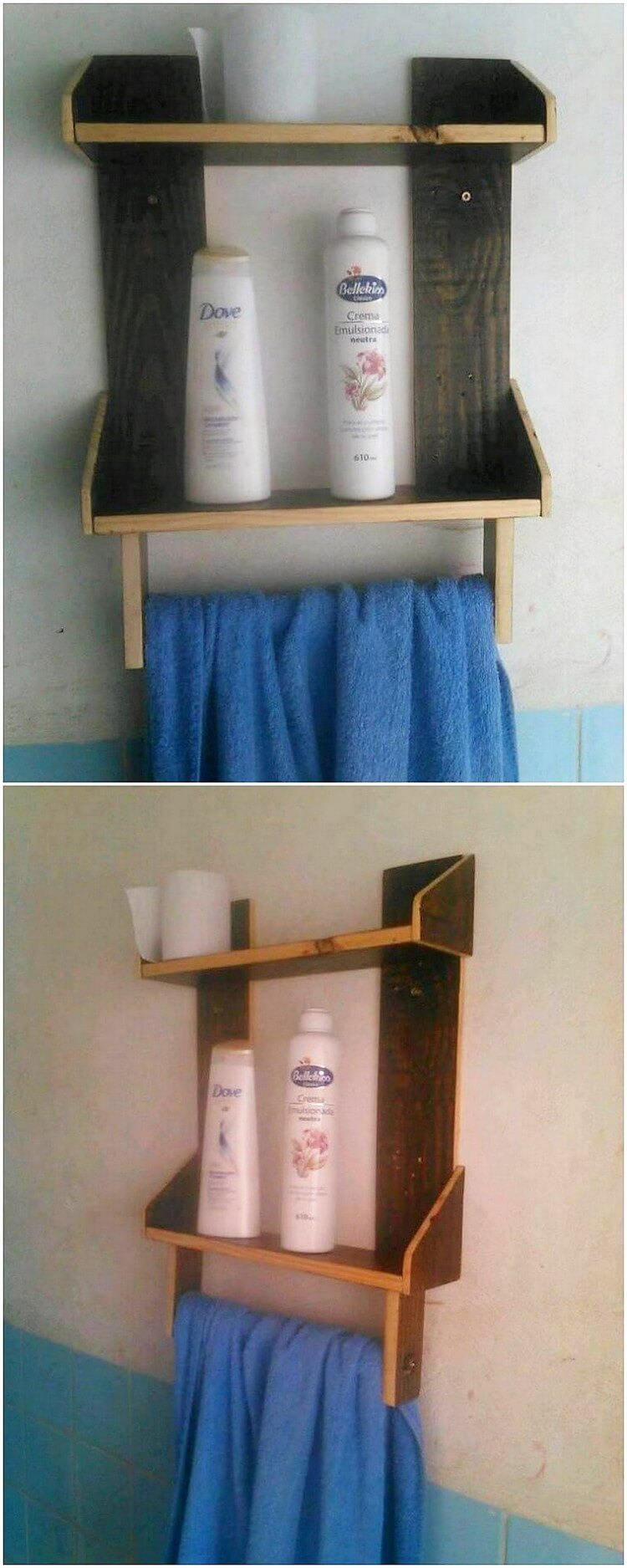Pallet Bathroom Shelf with Towel Rack