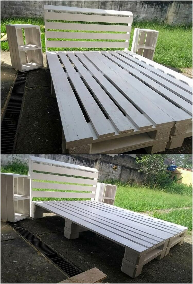 Amazing things made from old shipping pallets recycled for Pallet bed frame with side tables