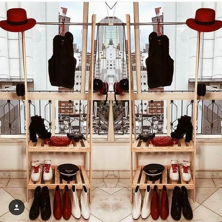 Pallet Closets with Shoe Rack