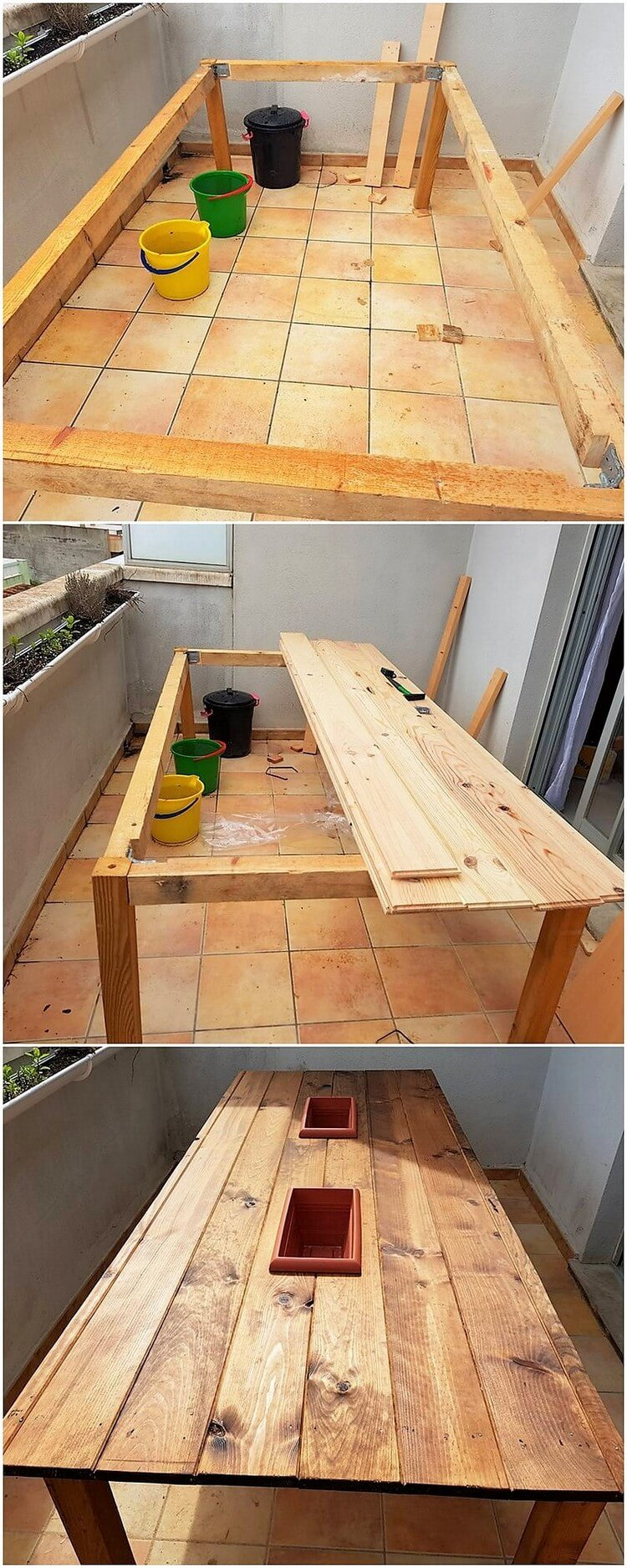 Pallet Table with Wine Storage