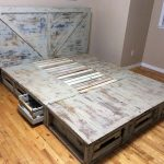 Wood Pallet Bed with Storage Drawer