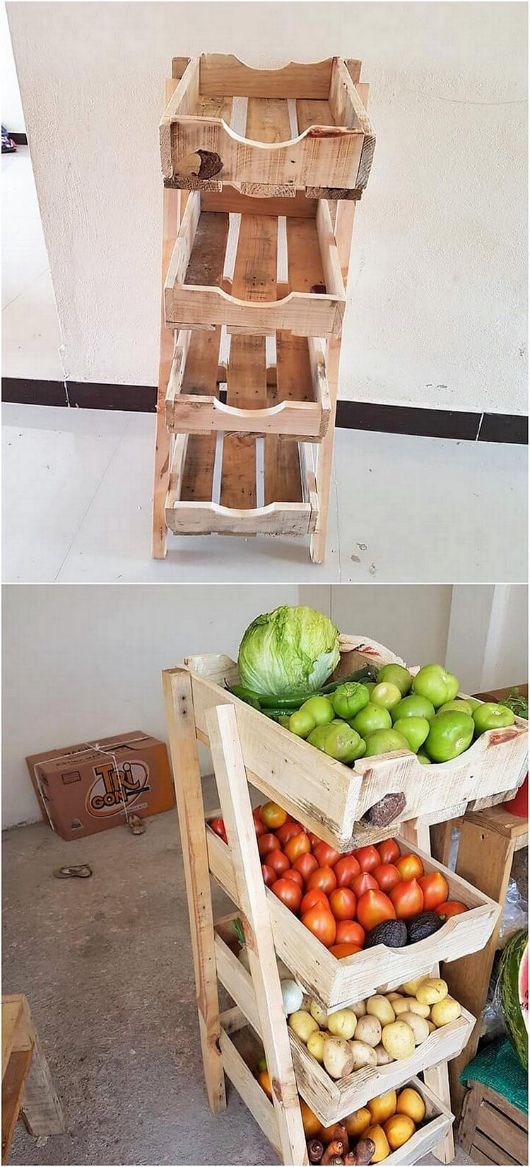 Wood Pallet Vegetables Rack