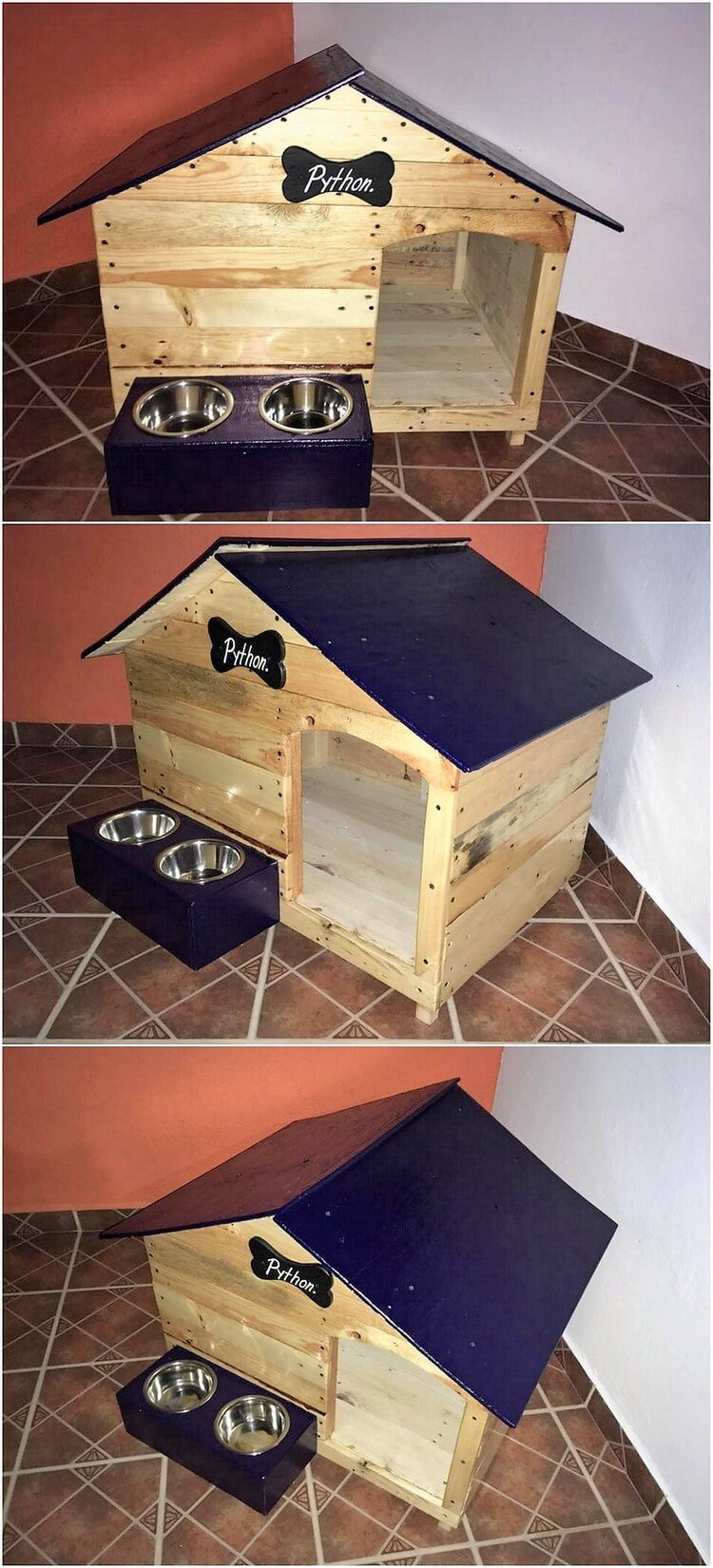 Pallet Dog House with Food Feeders