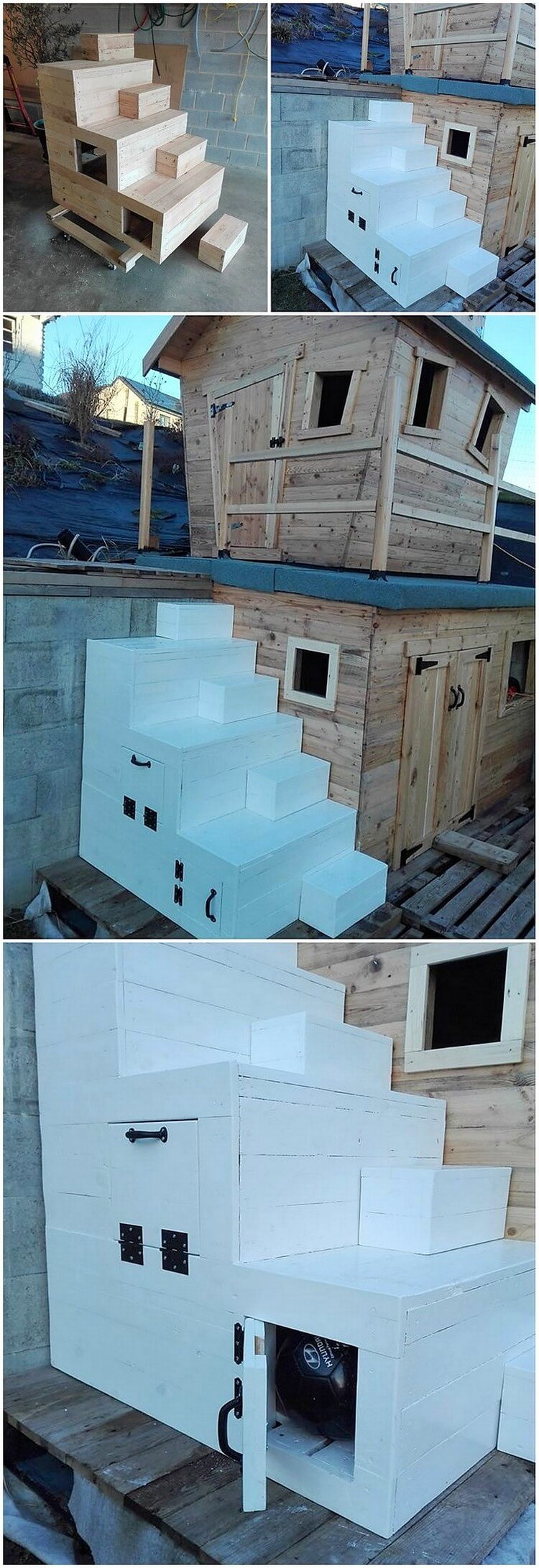 Pallet Garden House with Stairs
