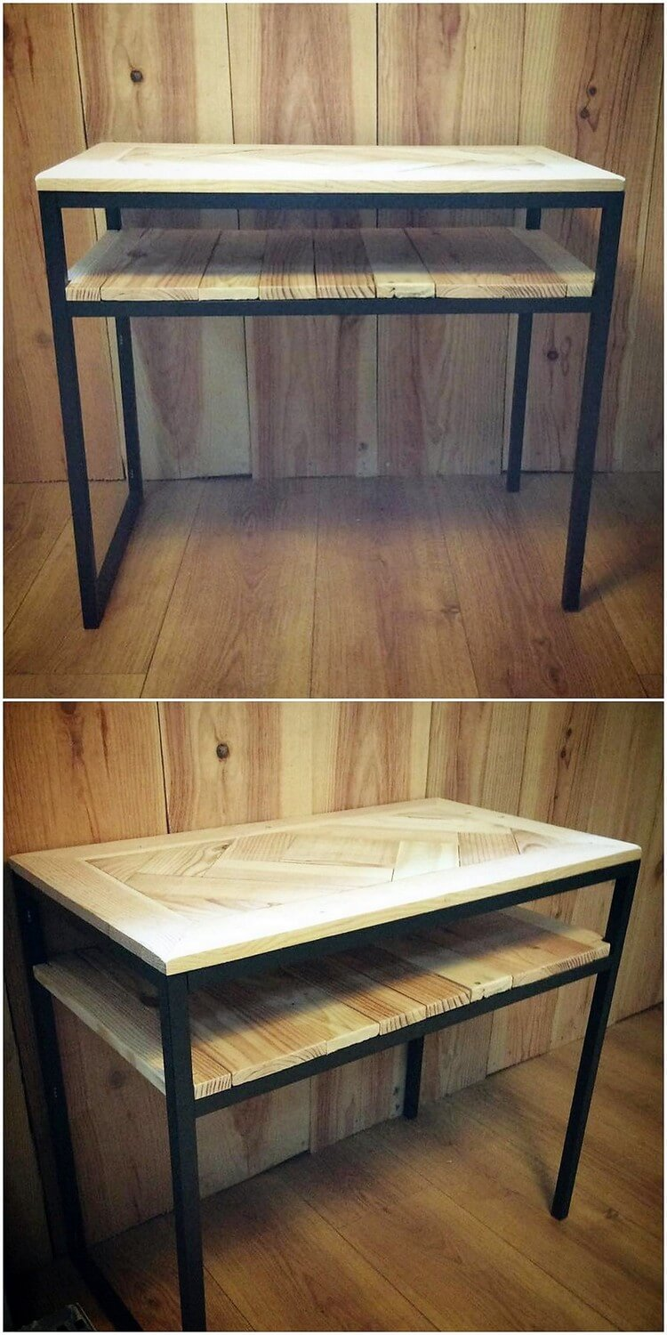 Pallet Table with Bookstorage