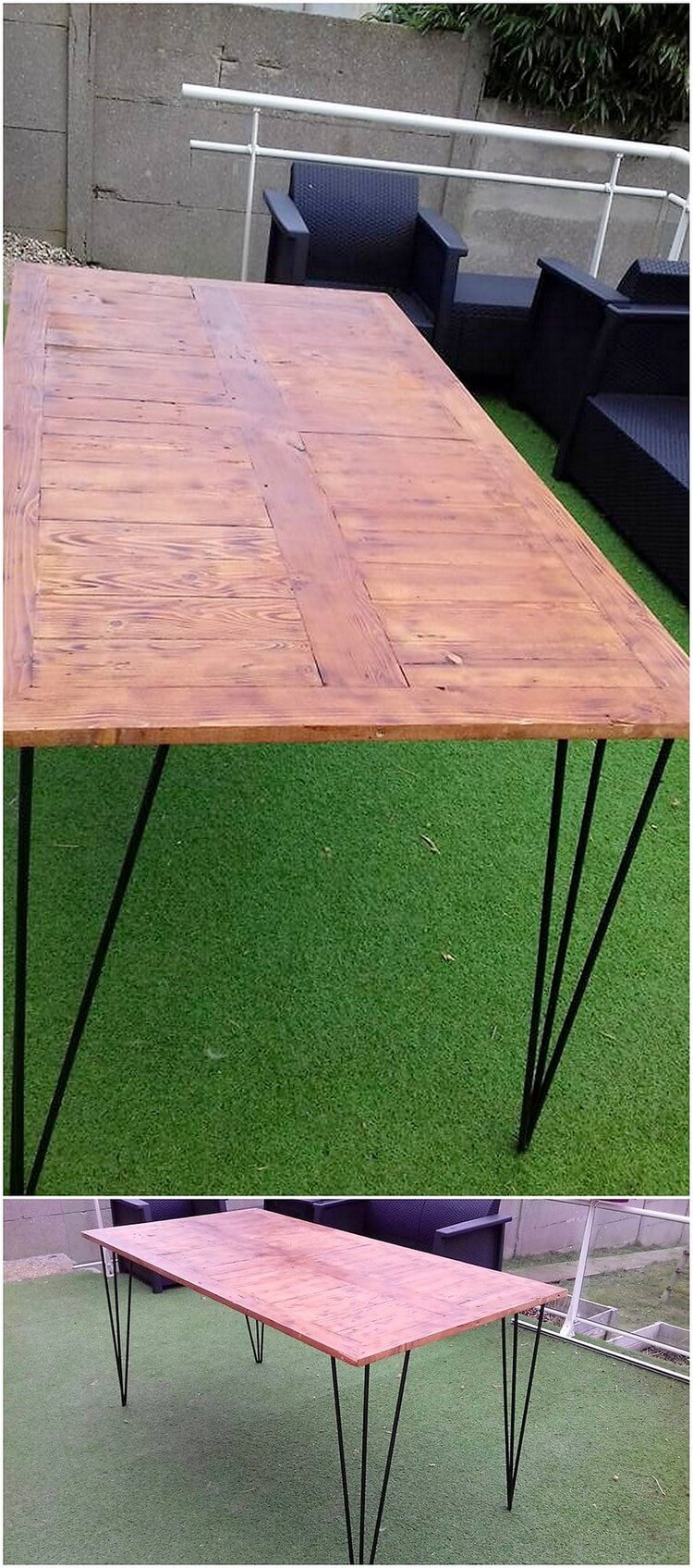 Pallet Table with Hair Pin Legs
