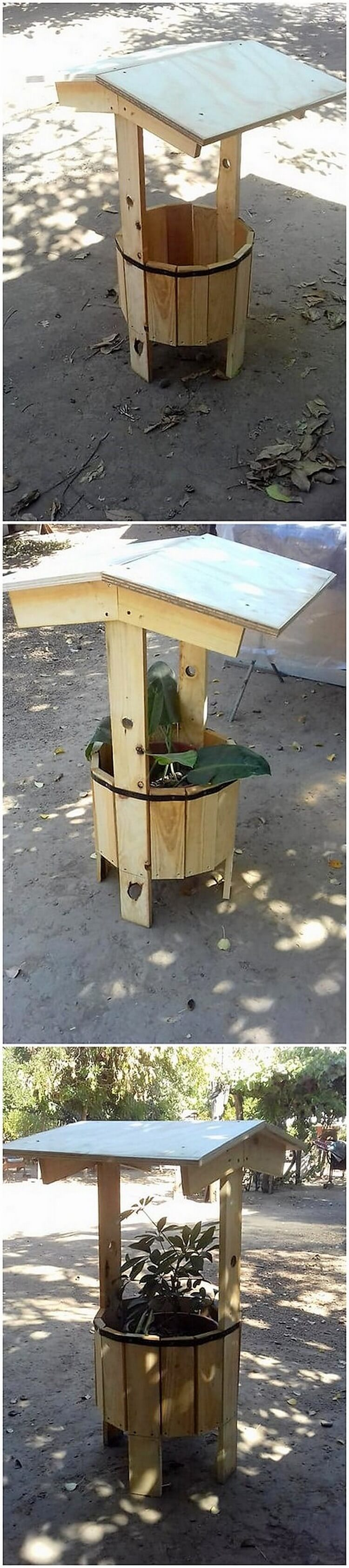 Pallet Wishing Well with Planter