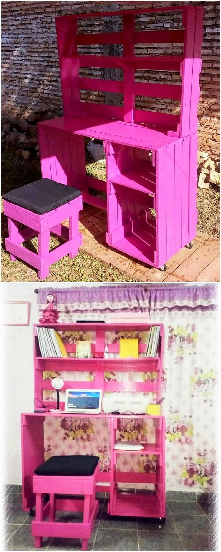 Pallet Kids Study Table and Stool